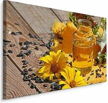 Leinwandbild Sonnenblumenöl, Sonnenblumen und
