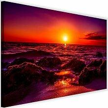 Leinwandbild Sonnenuntergang am Meer 3