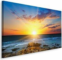 Leinwandbild Sonnenuntergang am Meeresstrand