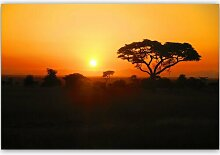 Leinwandbild Sonnenuntergang in Afrika
