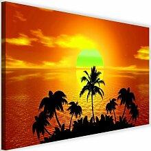 Leinwandbild Sonnenuntergang mit Palmen