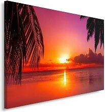 Leinwandbild Sonnenuntergang und Palmen 3