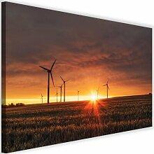 Leinwandbild Sonnenuntergang und Windmühle