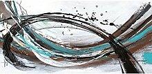 Leinwandbild, Storm, abstraktes Gemälde, blau, braun, 115 x 55 x 2,5 cm von Eurographics