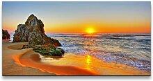 Leinwandbild Strand bei Sonnenaufgang