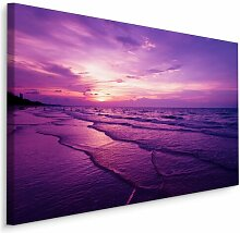 Leinwandbild Strand, Meer und Sonnenuntergang