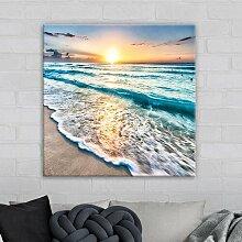 Leinwandbild Strand Sonnenuntergang in