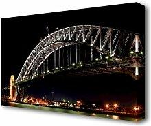 Leinwandbild Sydney Harbour Bridge Nachtlichter