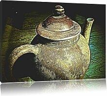 Leinwandbild Teekanne aus Keramik