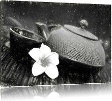 Leinwandbild Teekanne in Schwarz