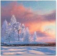 Leinwandbild Winterlandschaft – 3D Illustration
