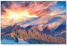 LeinwandbildWinterlandschaft beim Sonnenaufgang