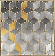 Leinwandbild Würfel - 50x50 cm goldfarben