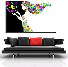 Leinwanddruck Abstrakte Blumenmädchen Poster für