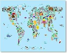 Leinwanddruck Animal Map 3 Americanflat