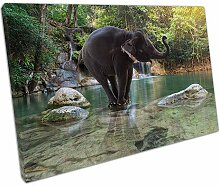 Leinwanddruck Erawan Wasserfall mit Elefant