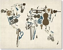 Leinwanddruck Musical Instrument Map Americanflat