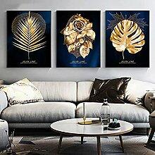 Leinwandmalerei Abstrakte goldene Pflanze Blätter