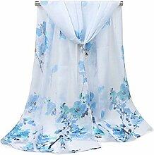 Leisial Damen Chiffon Strand Lange Schal Sonnenschutz Schal Sommer Stola mit Pflaumenblüte Drucken ,160cm*50cm,Blau