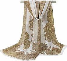 Leisial Damen Chiffon Strand Lange Schal Sonnenschutz Schal Sommer Stola mit Totemdruck,160cm*50cm,Weiß