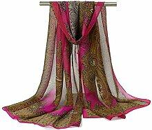 Leisial Damen Chiffon Strand Lange Schal Sonnenschutz Schal Sommer Stola mit Totemdruck,160cm*50cm,Rosenro