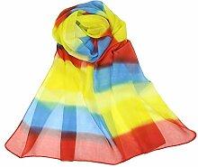Leisial Damen Chiffon Strand Schal Regenbogen Gradient Sonnenschutz Schal Sommer Stola mit Bunter Streifen,160cm*50cm,Farbe C