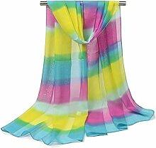 Leisial Damen Chiffon Strand Schal Regenbogen Gradient Sonnenschutz Schal Sommer Stola mit Bunter Streifen,160cm*50cm,Farbe A