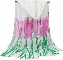 Leisial Damen Chiffon Strand Schal Sonnenschutz Schal Sommer Stola mit Rose Muster,160cm*50cm,Weiß