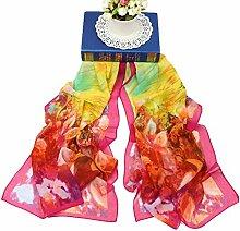 Leisial Damen Chiffon Strand Schal Sonnenschutz Schal Sommer Stola mit Ölgemälde Blumen Muster,160cm*50cm,Rosenro