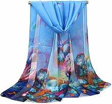 Leisial Damen Chiffon Strand Schal Sonnenschutz Schal Sommer Stola mit Großer Blumendruck,160cm*50cm,Blau
