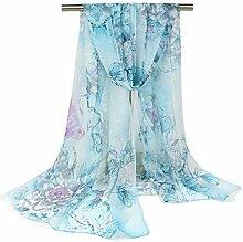 Leisial Damen Strand Schal Pfingstrose Blumen Sonnenschutz Schal Sommer Stola mit Blumenmuster,160cm*50cm,Blau