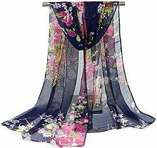 Leisial Damen Strand Schal Sonnenschutz Schal Sommer Stola mit Blumenmuster,160cm*50cm,Dunkelblau