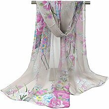 Leisial Damen Strand Schal Sonnenschutz Schal Sommer Stola mit Blumenmuster,160cm*50cm,Grau