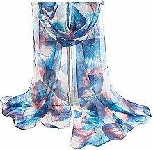 Leisial Damen Strand Schal Sonnenschutz Schal Sommer Stola mit Großes Buntes Blatt Muster,160cm*50cm,Dunkelblau