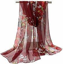 Leisial Damen Strand Schal Sonnenschutz Schal Sommer Stola mit Blumenmuster,160cm*50cm,Dunkelro