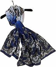 Leisial Damen Strand Schal Sonnenschutz Schal Sommer Stola mit Spitze,180*90cm,Blau