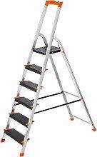 Leiter 6 Stufen, Aluleiter mit 12cm breiten
