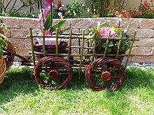Leiterwagen dunkelbraun 45 cm aus Korbgeflecht, Korbmaterial wetterfest**, WITZIGE GARTENDEKO, ideal als Pflanzkasten, Blumenkasten, Pflanzhilfe, Pflanzcontainer, Pflanztröge, Pflanzschale, Rattan, Weidenkorb, Pflanzkorb, Blumentöpfe, Holzschubkarre, Pflanztrog, Pflanzgefäß, Pflanzschale, Blumentopf, Pflanzkasten, Übertopf, Übertöpfe, , Holzhaus Pflanzgefäß, Pflanztöpfe Pflanzkübel