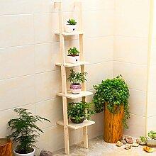 LEITSA- Boden Regal Regal Blumenständer Einfache Unterlage Lagerung Regal Wohnzimmer Fertig Lagerung Regal ( Farbe : Solid wood primary colors )