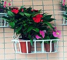 LEITSA- Eisen Blume Rahmen Wand hängen Blume Rack Dekoration Wand Blume Korb hängen Korb Balkon Blume Rahmen Blumentöpfe hängen blau grün Rettich grün Pflanze ( Farbe : Weiß , größe : 45*15*24cm )