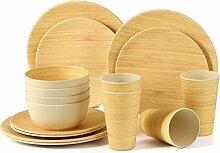 LEKOCH 16-teilige Bio Bambus Umweltfreundlich