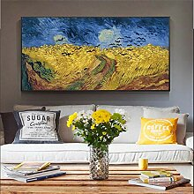 LELME Van Gogh Wheatfield mit Krähen Welt Malerei