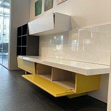 Lema   Schrankwand T030 Holz Gelb Grau Weiß
