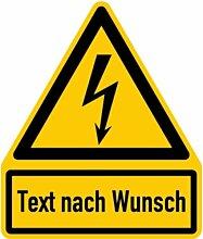 LEMAX® Aufkleber Elektrische Spannung mit Text nach Wunsch 237x200mm