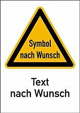 LEMAX® Aufkleber Warnschild mit Symbol und Text nach Wunsch nach DIN-Norm 25430 210x...