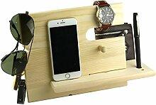 Lemo Hand -Wooden iPhone-Dockingstation mit Schlüsselhalter , Stifthalter , Brieftasche und Uhr-Organizer Männer Geschenk (Holzfarbe)