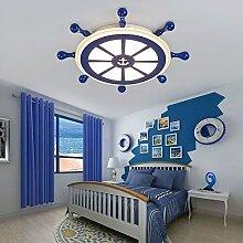 lemumu Kinderzimmer mediterranen Stil Licht amerikanischen minimalistischen regiert die Jungen Die Lampen LED Lampe Kinderzimmer Zimmer Decke, Une lumière chaude de 73 cm, Une lumière chaude de 73 cm, E27