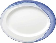 Lenox 865608 Indigo Watercolor Stripe ovale