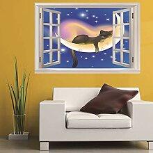 Leoljc Mond Katze 3D Gefälschte Fenster City Home