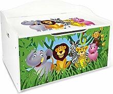 Leomark Groß Holz Kindertruhenbank XL Kinderbank Truhenbank Motiv: Dschungel tiere. Behälter für Spielzeug, Sitzbank mit Stauraum für Spielsachen